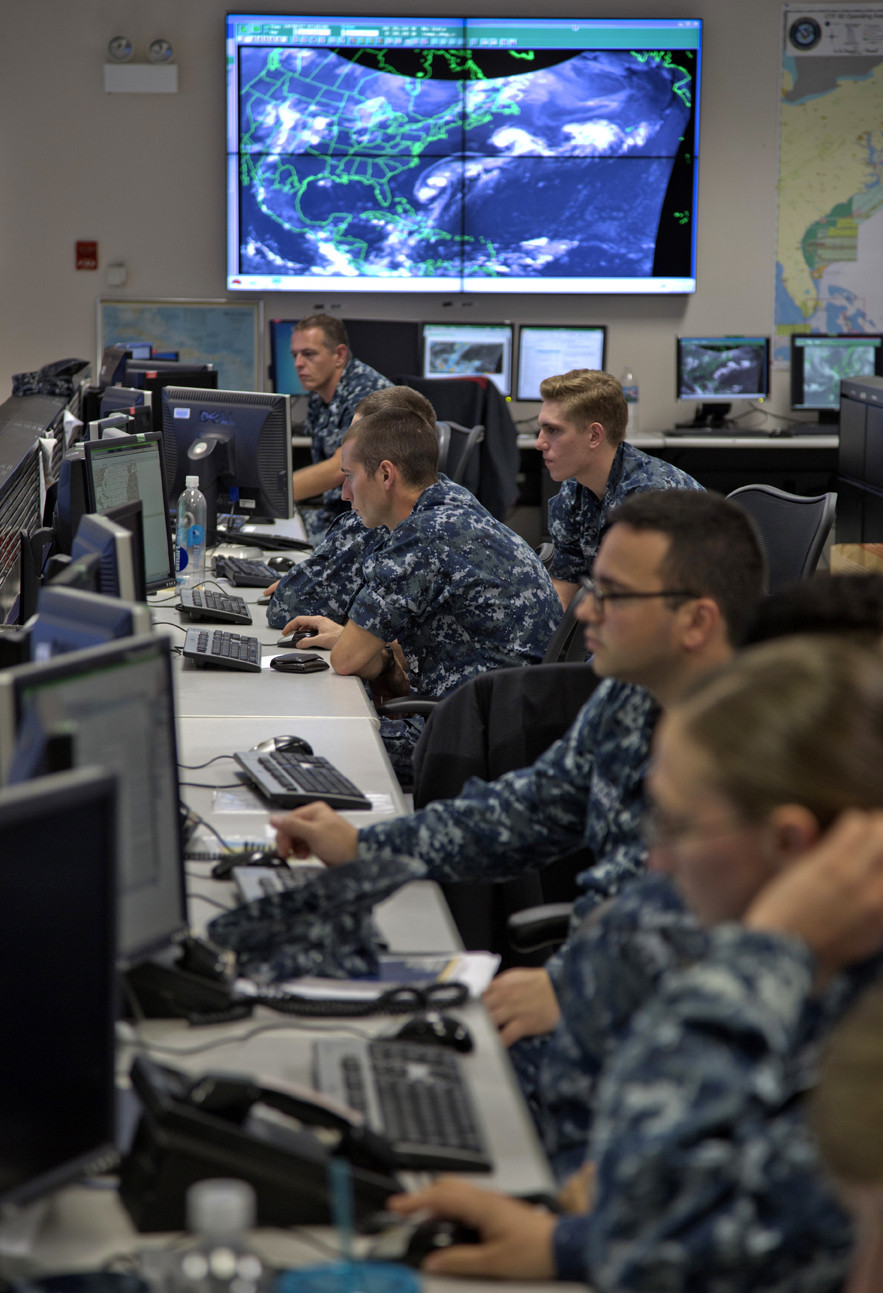 The Navy's Fleet Weather Center in Norfolk is where weather experts are on hand to show how they use weather tracking and forecasting for the Navy.