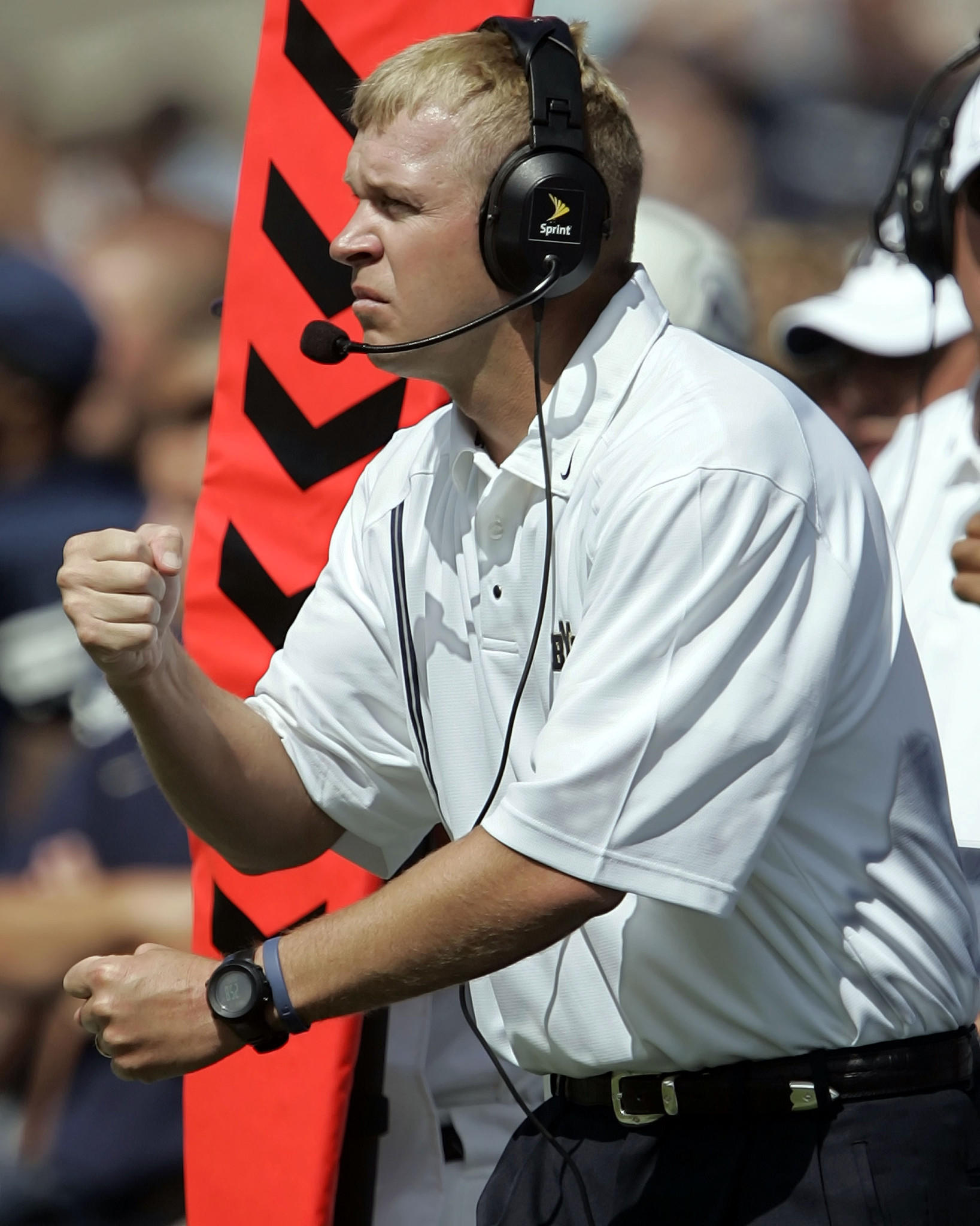 Head coach Bronco Mendenhall of the Brigham Young Cougars coaches in his first game for BYU, against the Boston College Eagles on September 3, 2005 at LaVell Edwards Stadium in Provo, Utah. Boston College defeated BYU 20-3.
