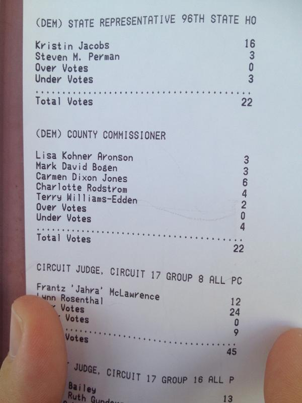 Broward elections supervisor Dr. Brenda Snipes said she would code elections equipment not to tabulate the District 2 county vote. Yet as you can see, the votes were tabulated.