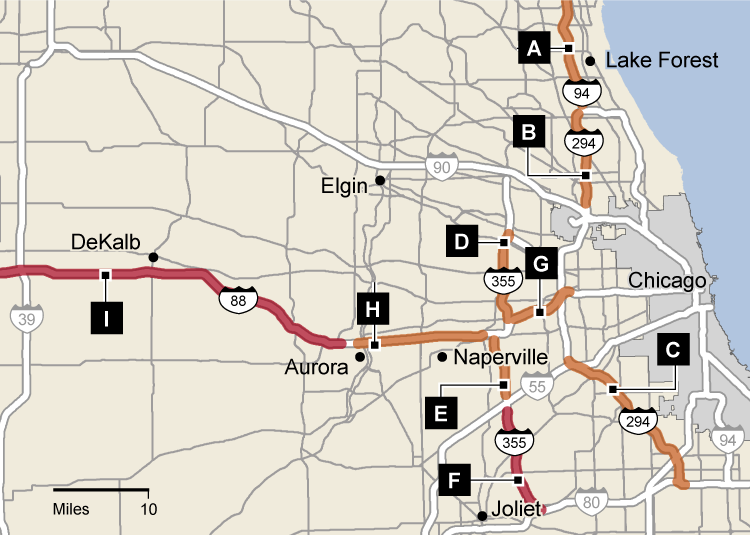 How drivers speed on the Illinois Tollway (map) - Chicago ...