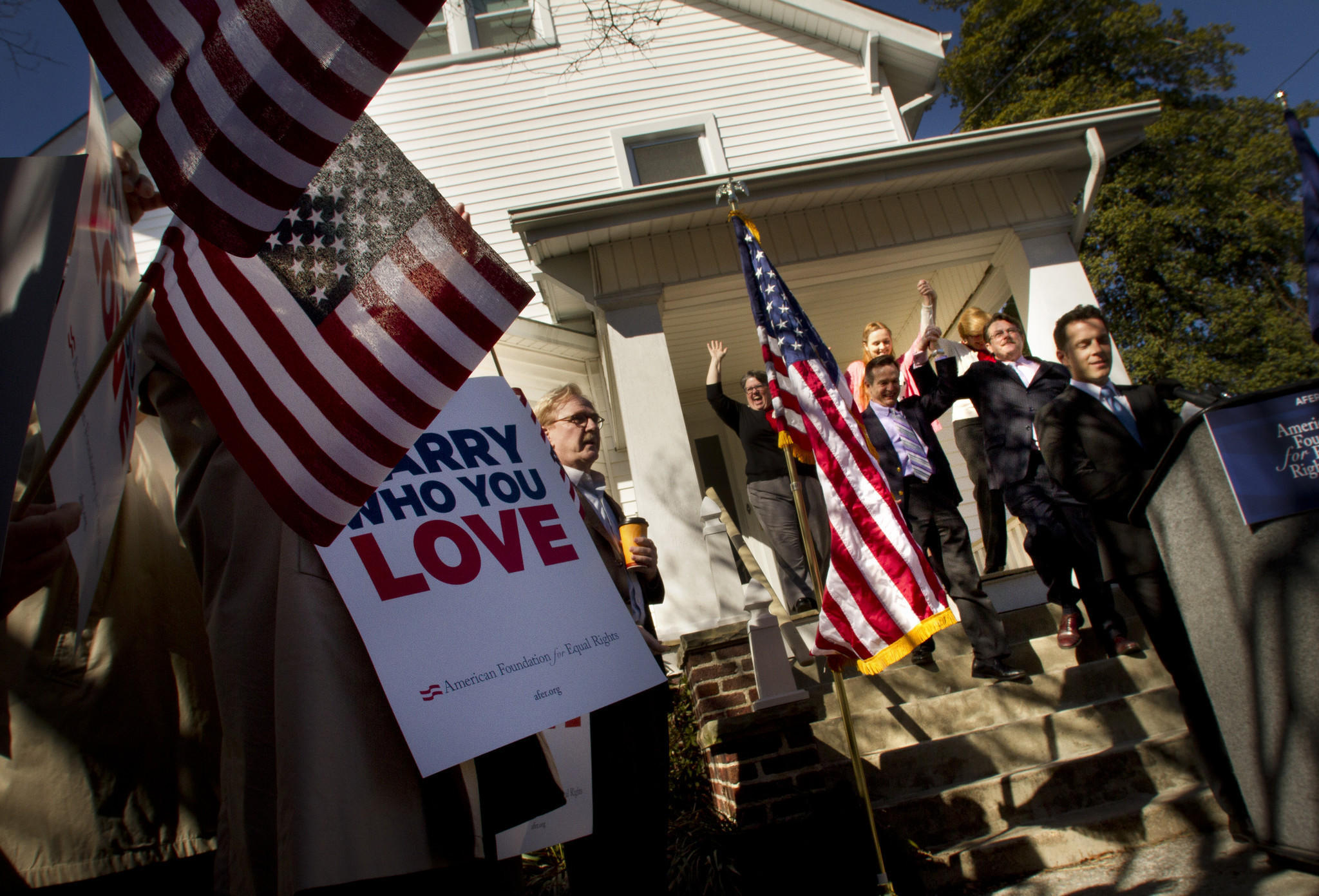 Plantiffs that challenged the constitutionality of a gay marriage law in Virginia arrive for a press conference Friday in Norfolk after the judge hearing the case ruled the Virginia law unconstitutional Thursday evening.