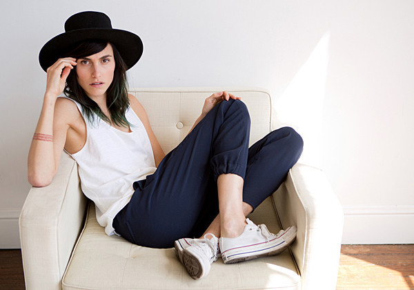 Langley Fox, daughter of Mariel Hemingway, models one of her tank tops for San Francisco-based Everlane.