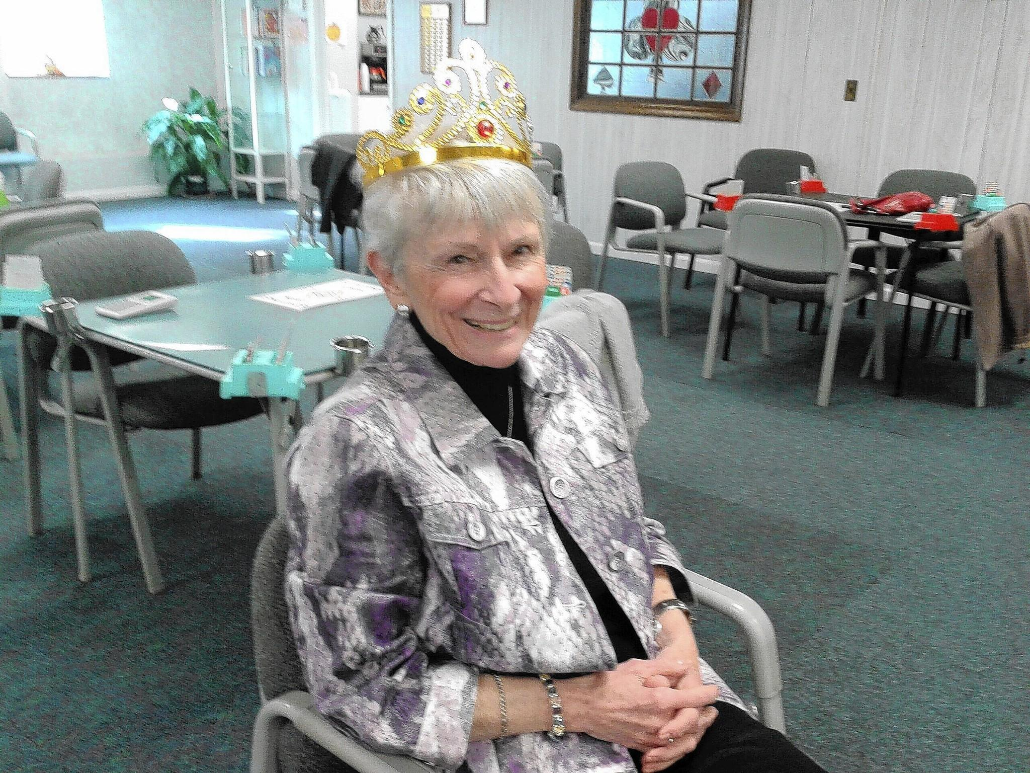 """Dixie Mastrandrea, of West Hartford, was a longtime member and former president of the Hartford Bridge Club. The photograph, which was taken at the club, earned her the nickname, """"The Queen of Hearts."""""""