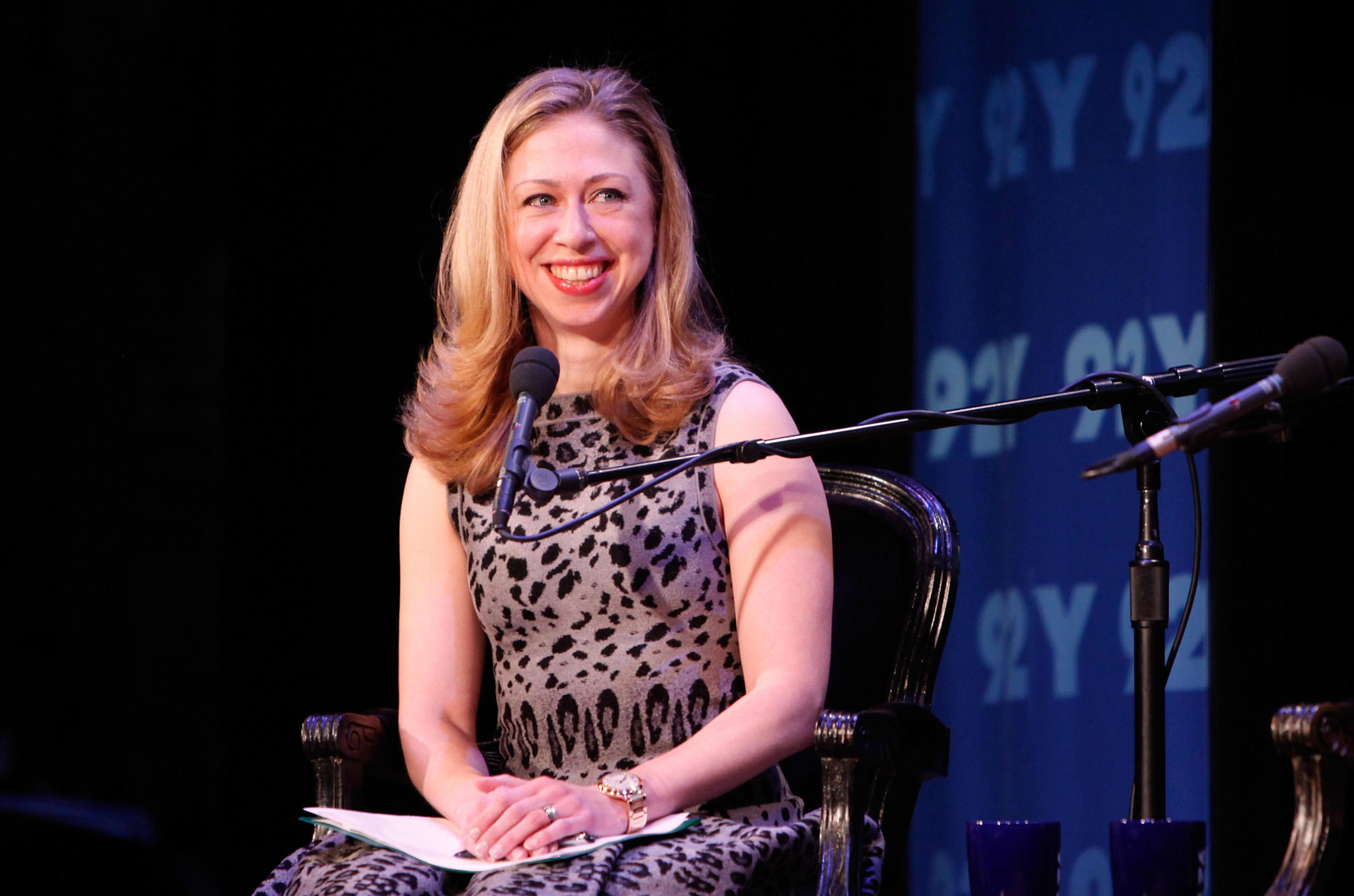 Moderator Chelsea Clinton speaks at Women In Politics Panel With Chelsea Clinton hosted by Glamour magazine at 92nd Street Y on March 28, 2012 in New York City.