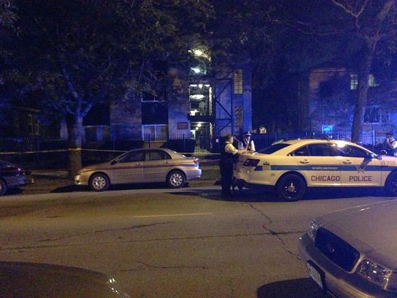 Chicago police officers on the scene of a shooting in the 7400 block of North Ridge Boulevard.