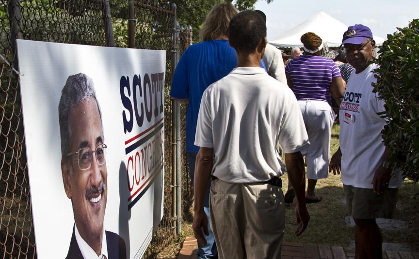 Bobby Scott's 38th annual Labor Day Picnic held at his family home in Newport News This photo poster of Scott greets his supporters as they enter his back yard picnic and party.