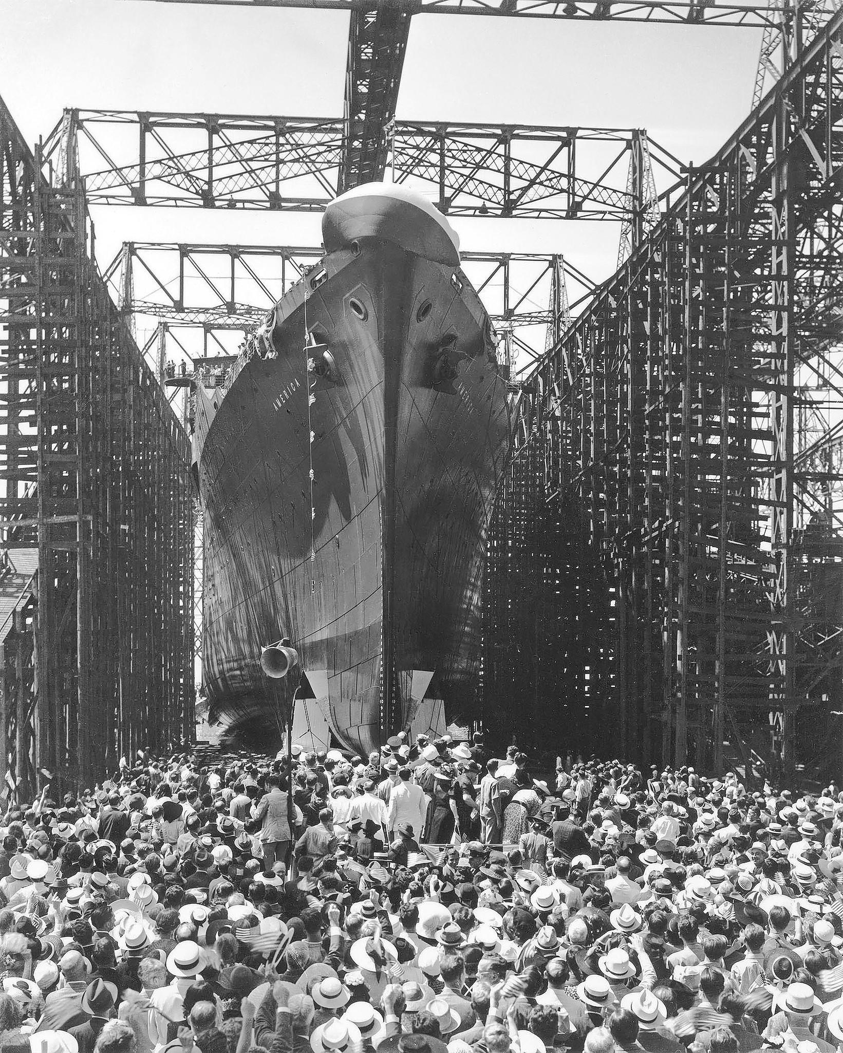 More than 30,000 spectators gathered to watch the launching of the passenger liner SS America at Newport News Shipbuilding on 8/31/1939. The liner was delivered to United States Lines on 7/2/1940.