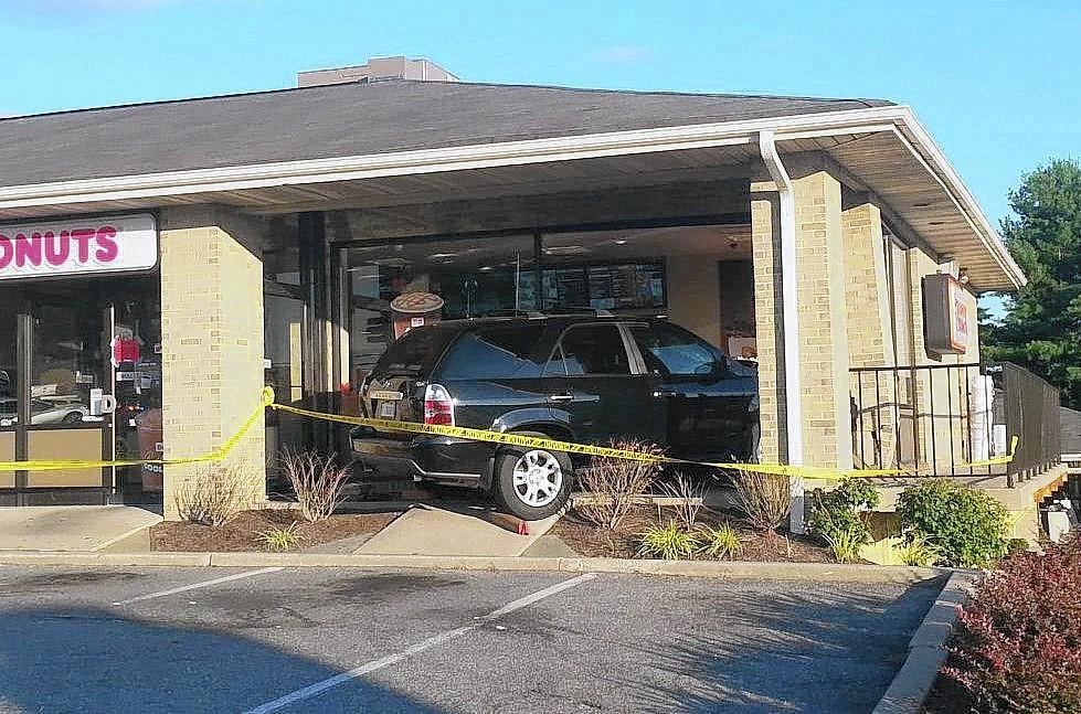 An SUV crashed into the Dunkin Donuts located 8400 block of Baltimore National Pike in Ellicott City, on Monday afternoon.