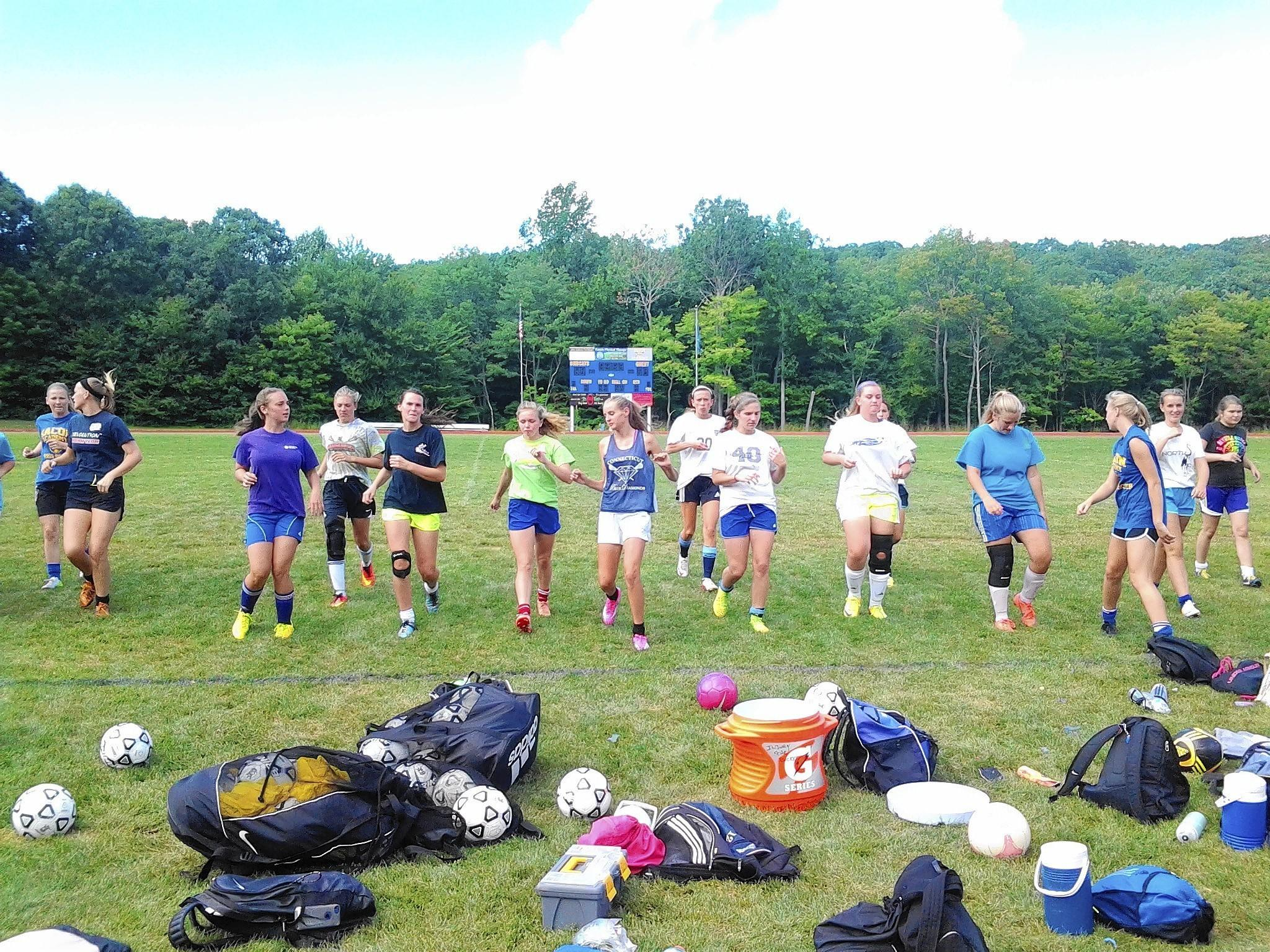 The Bacon Academy girls' soccer teams worked out and ran drills last week, to prepare for the start of the season on Sept. 12. Photo by Merja H. Lehtinen.