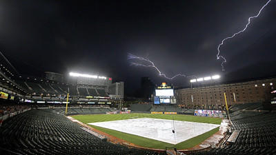 After Orioles-Reds game starts late, rain forces another delay in first inning