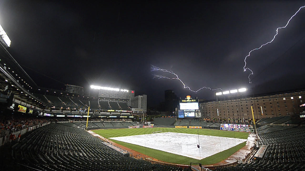 After the Orioles and Cincinnati Reds started late, another storm forced a second rain delay at Camden Yards.