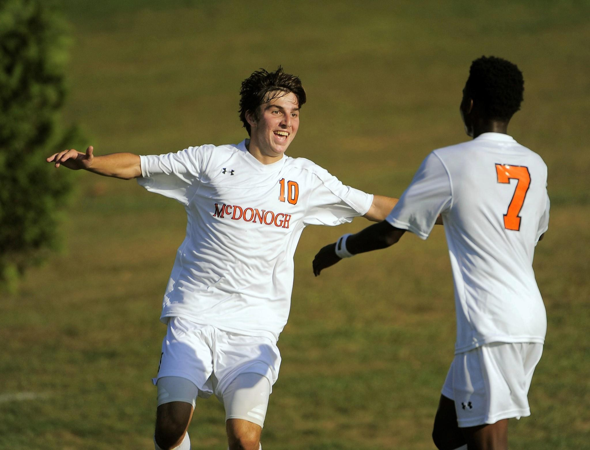 McDonogh's Connor Smith (10) celebrates a goal last season.