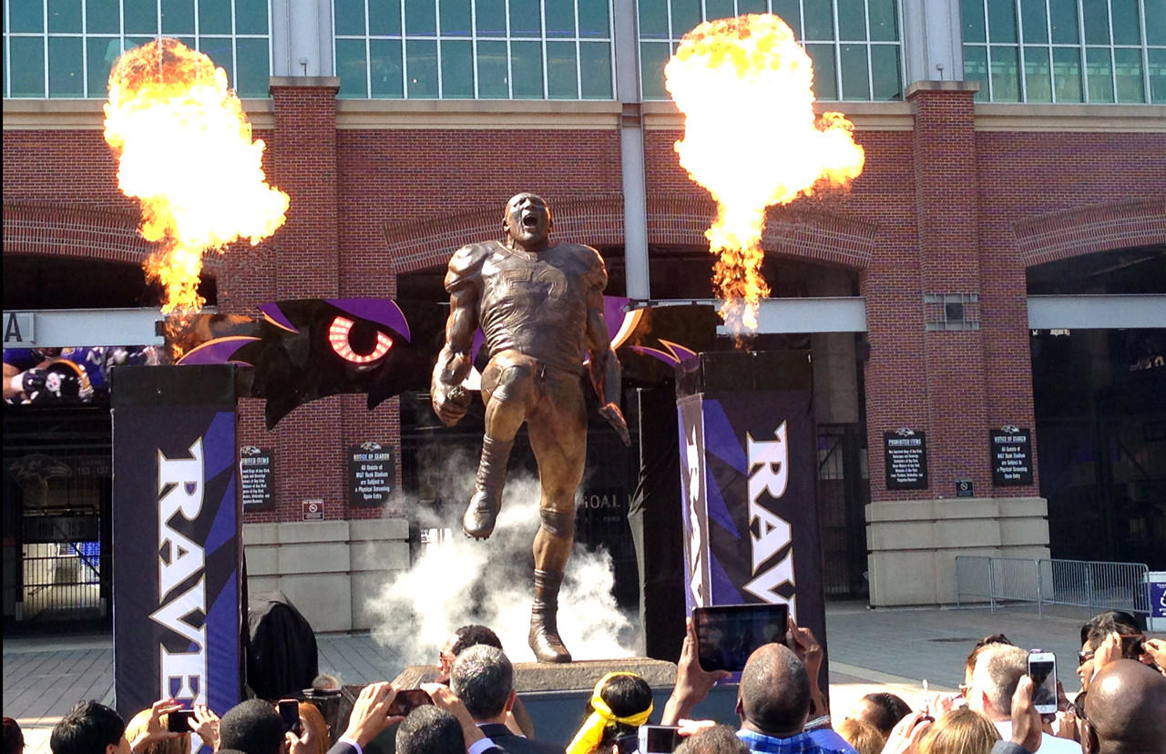 Ray Lewis' statue is unveiled outside M&T Bank Stadium.