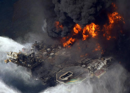The explosion April 20, 2010, aboard the Deepwater Horizon rig killed 11 people. The rig was about 50 miles southeast of Venice, La.