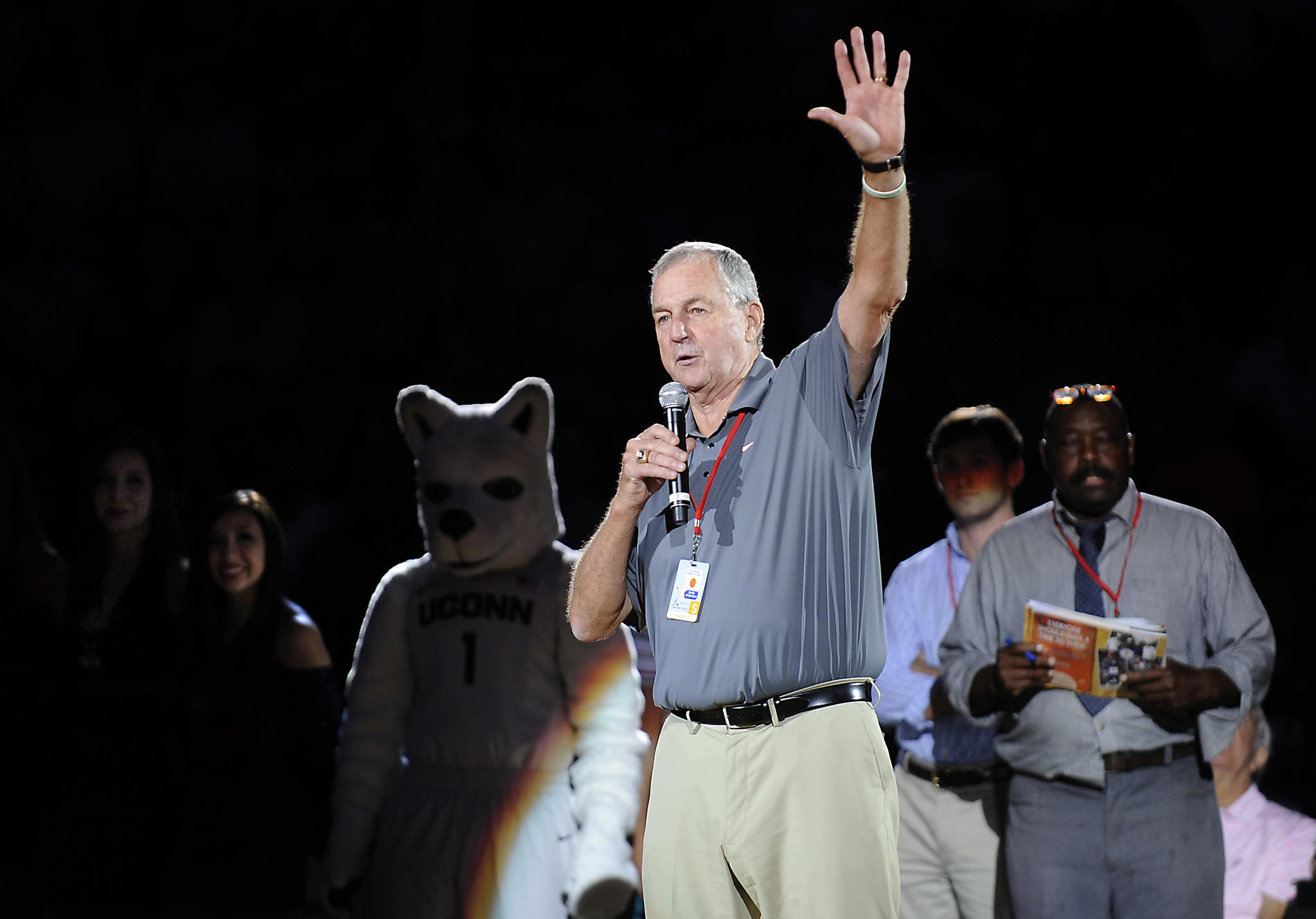 Jim Calhoun thanks the fans and players that came out for his annual Celebrity Classic basketball game at the Mohegan Sun Arena Friday night in Uncasville.