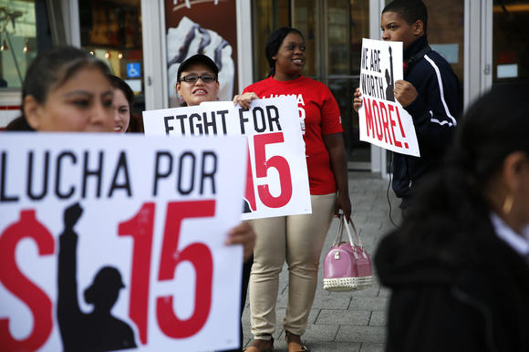 Rally for higher minimum wage