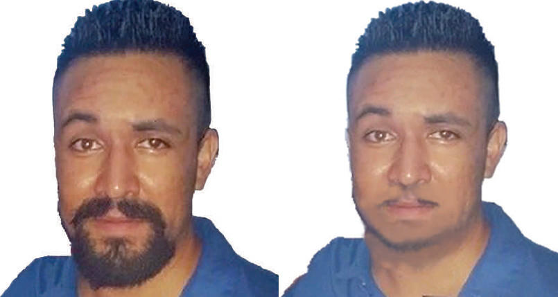 The photo on the left was taken in August 2014 and shows Edibaldo Duran, the suspect in a home invasion and sexual assault in Fairfield. But on the evening before the attack he shaved his goatee closely and may resemble the altered picture on the right, police said.