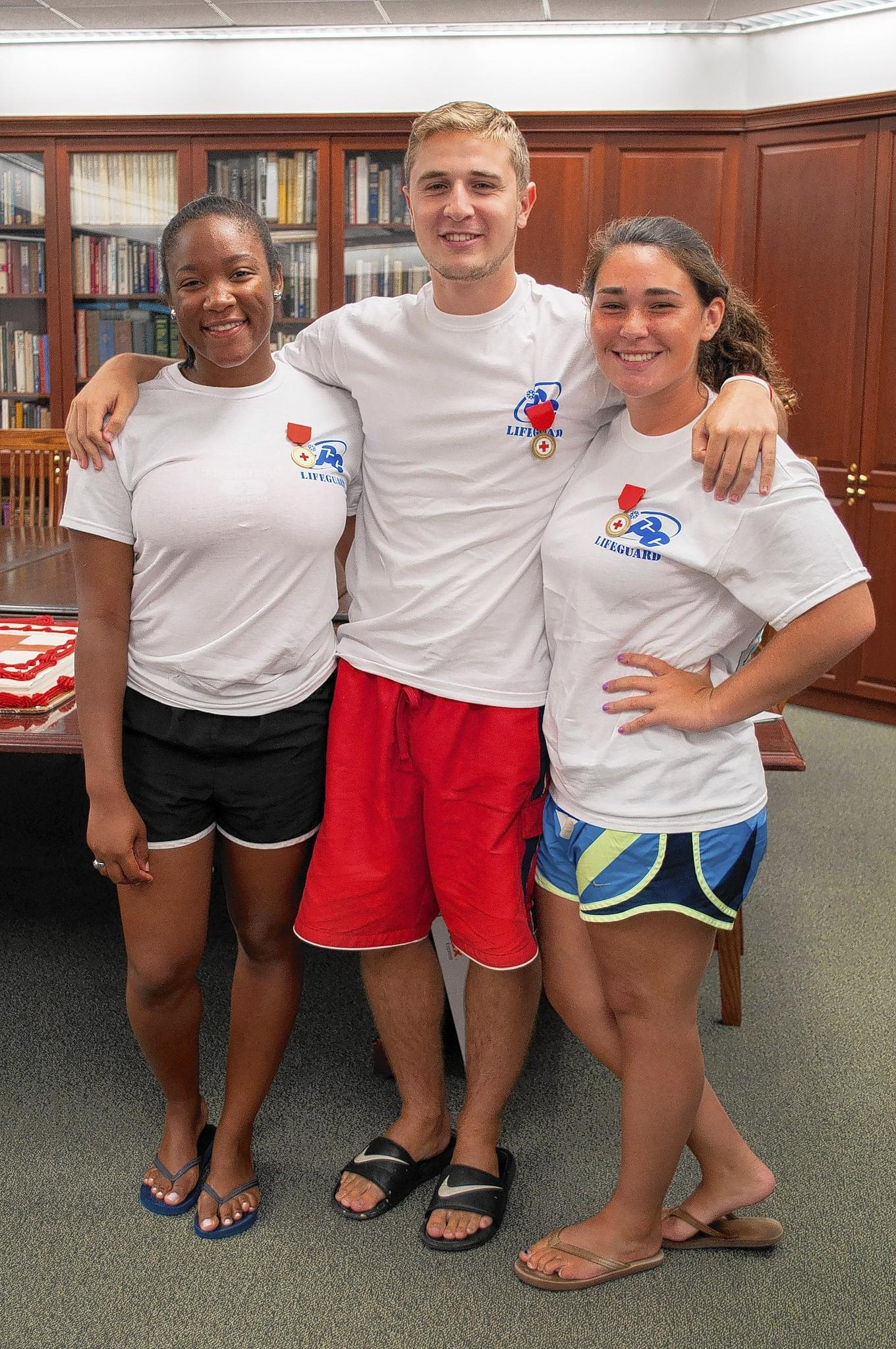 From left to right: JCC lifeguards Jalina Ray, Andrew Minkin and Jennifer Siegel.