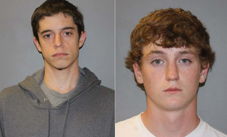 Brett Harrison (left) and Sean Victory were arrested and charged with third-degree larceny.