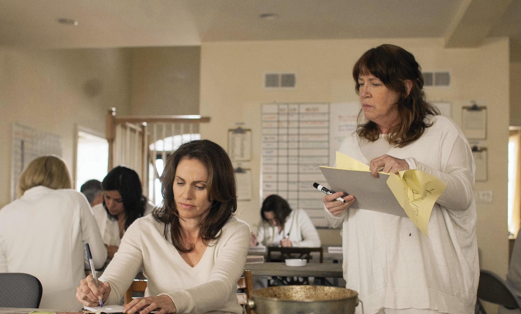 "Ann Dowd, right, as Patti Levin in a scene with Amy Brennerman in the HBO series ""The Leftovers."" (Paul Schiraldi / HBO)"