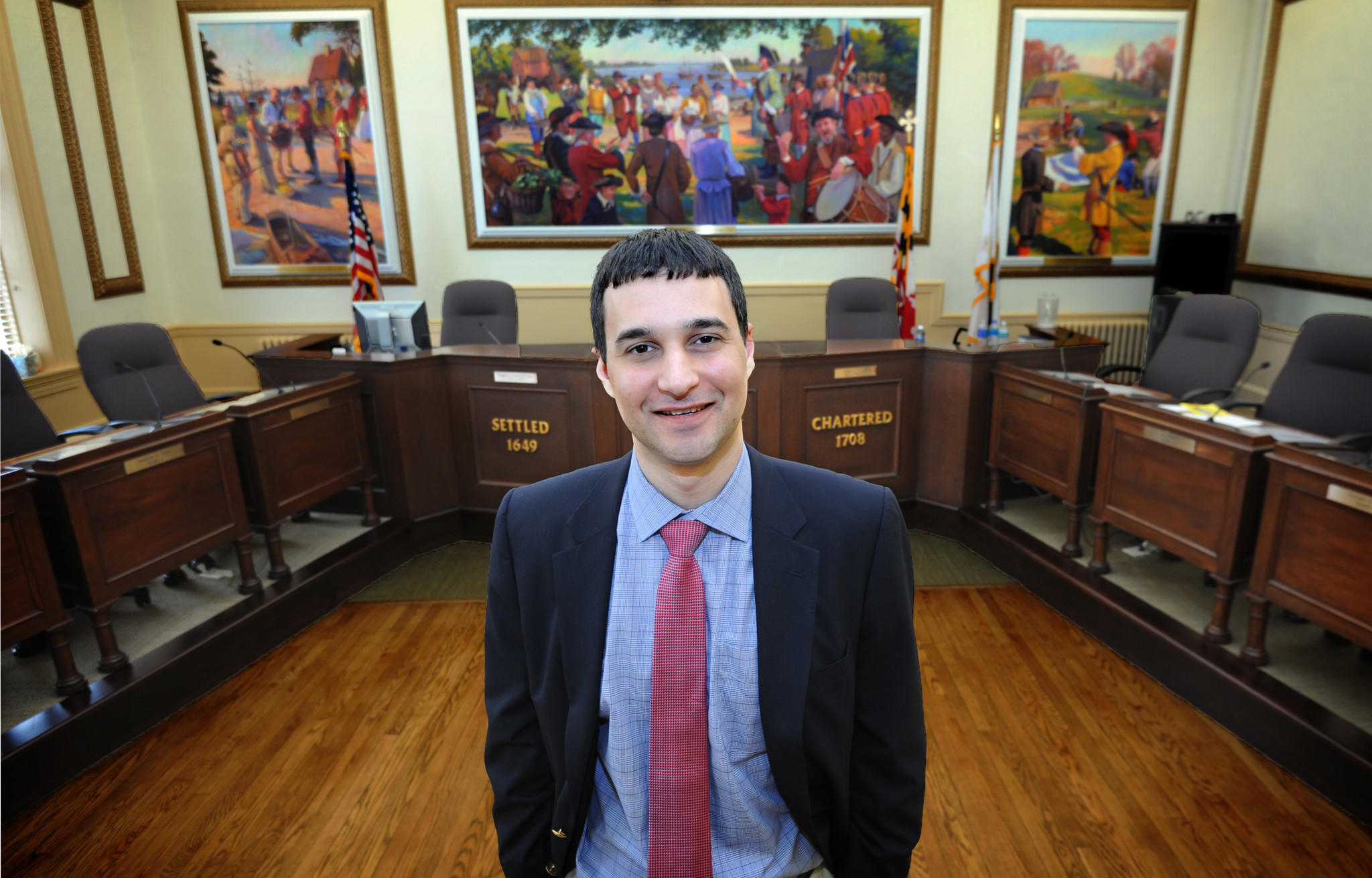 New Annapolis Mayor Mike Pantelides is pictured in council chambers. A Republican in a Democrat-dominated city, has faced a rough road in his first four months in office.