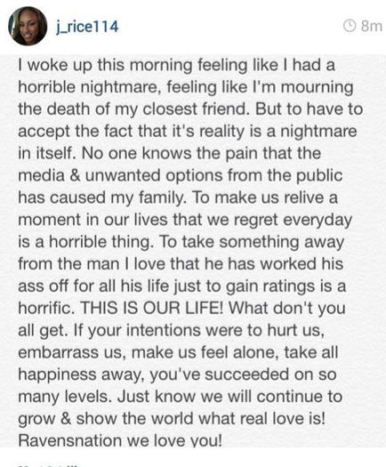 Janay Rice Instagram statement on Ray Rice