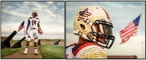 """A look at the new uniform Maryland will wear against West Virginia to honor the Battle of Baltimore and the 200th anniversary of """"The Star-Spangled Banner."""""""