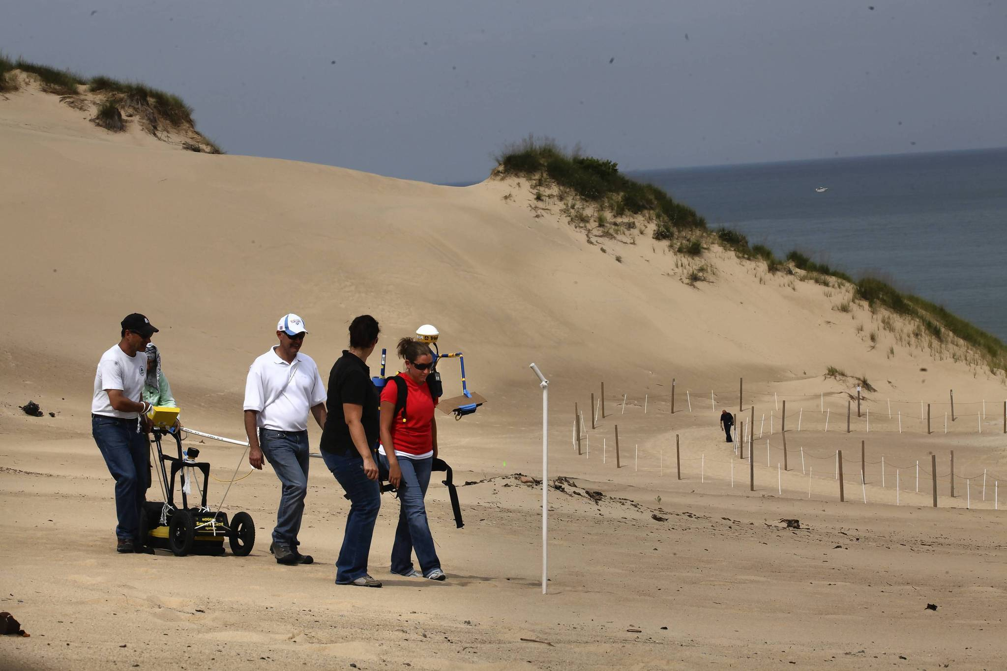 Using a Ground Penetrating Radar machine and a special GPS, EPA investigators scan the sand dunes where the boy was swallowed at Mt. Baldy in the Indiana Lakeshore National Park.
