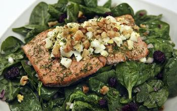 Salmon and spinach with dill dressing