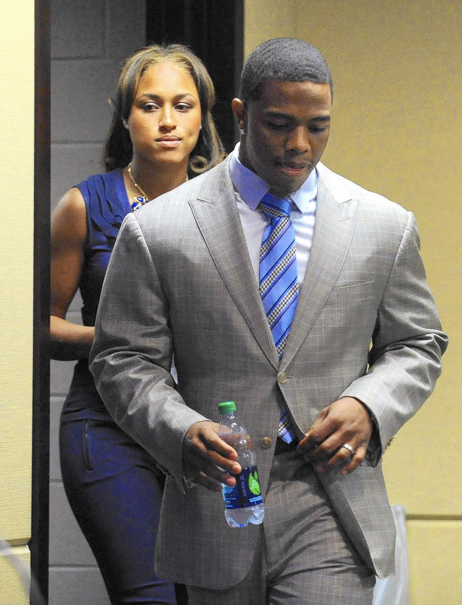 Janay Rice and her husband, then-Ravens running back Ray Rice, at a news conference in May at the Under Armour Performance Center.