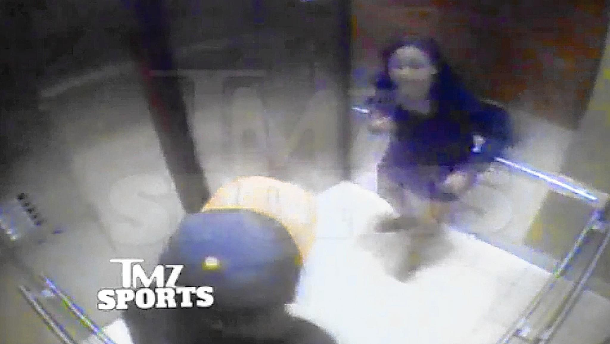 A video frame grab from a video obtained by TMZ Sports of Ray Rice in an altercation with his then fiance, Janay Palmer. They have since gotten married. The fight took place in an elevator in an Atlantic City casino.