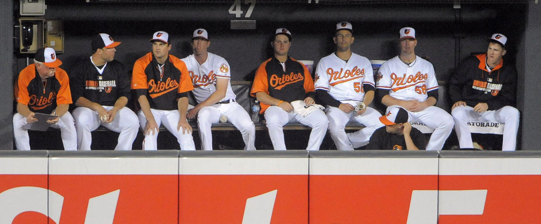 The Orioles bullpen watches Chris Tillman pitch against the Cincinnati Reds earlier this month.