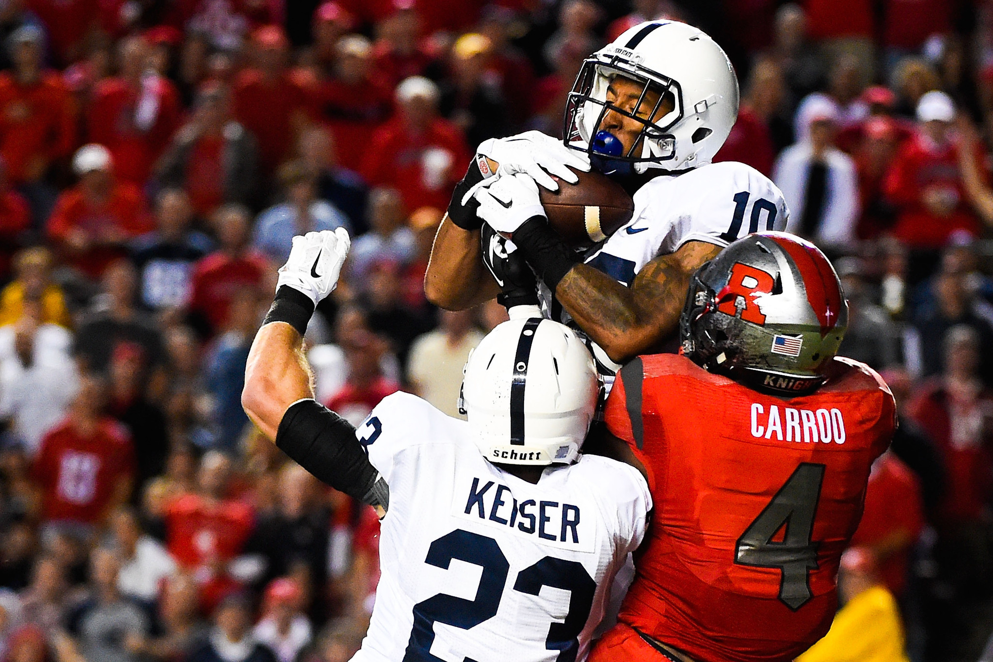 Penn State's Trevor Williams intercepts a pass in the third quarter against Rutgers on Saturday.