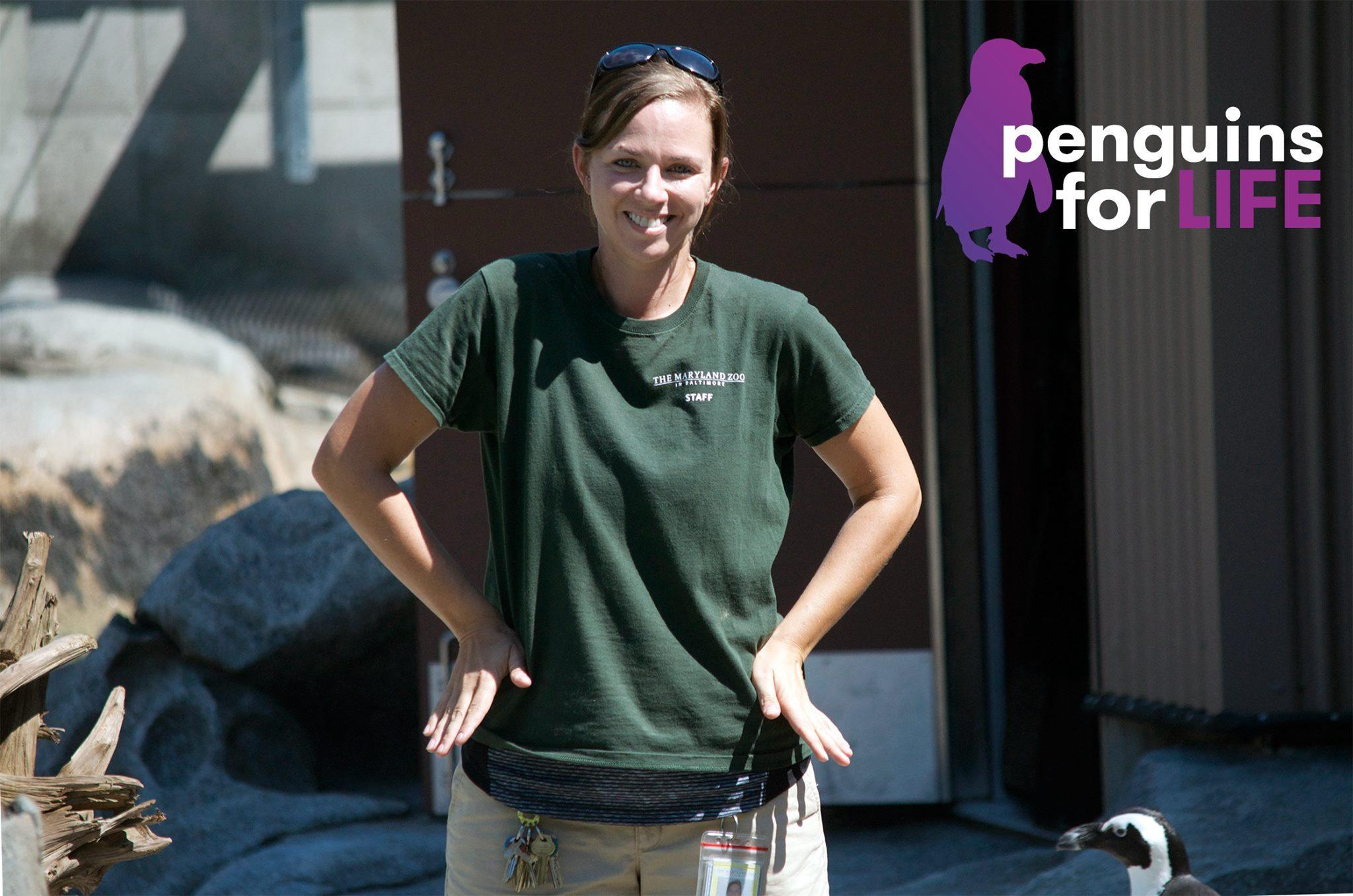 Jen Kottyan, the Maryland Zoo's avian collection and conservation manager, shows how to do the penguin pose