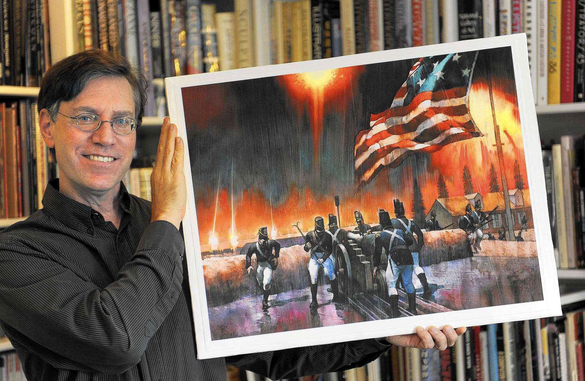 "Greg Harlin, senior illustrator with Wood Ronsaville Harlin Inc., holds his mixed media painting,""The Bombardment of Fort McHenry,"" which he created for the U.S. Postal Service. It is the design for a commemorative stamp scheduled to be released on Saturday."