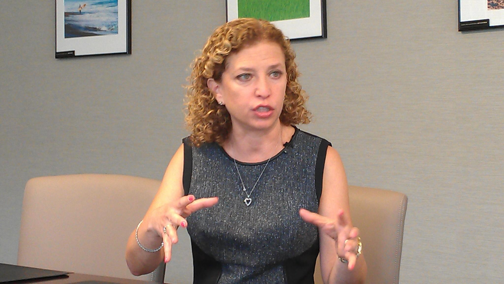 U.S. Rep. Debbie Wasserman Schultz of Weston, chairwoman of the Democratic National Committee, was at the Sun Sentinel editorial board on Monday, Sept. 15, 2014. (Photo by Anthony Man)