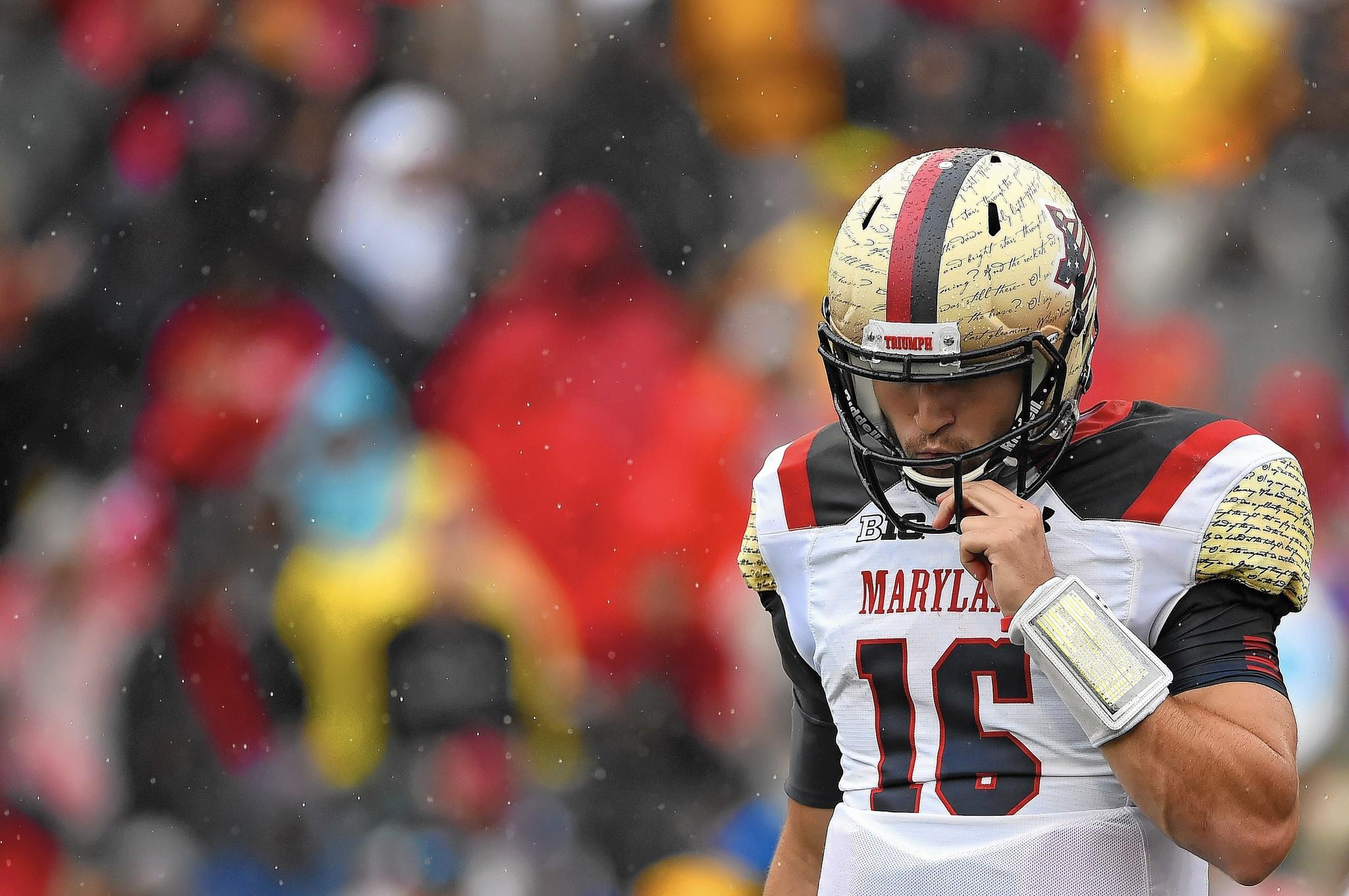 Quarterback C.J. Brown of the Maryland Terrapins reacts in the third quarter against the West Virginia Mountaineers.