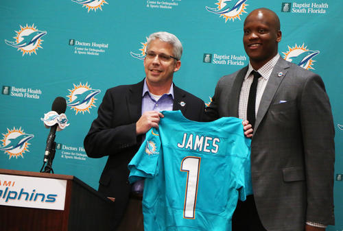 fl-dolphins-0510d---Miami Dolphins general manager Dennis Hickey introduces the Dolphins newest pick Ja'Wuan James, a right tackle from Tennessee during press conference. ---Carline Jean, SunSentinel