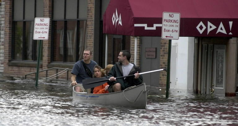 Tropical Storm Isabel flooded low-lying coastal areas in and around Baltimore in 2003.