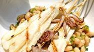 Recipe: Grilled squid with white bean salad
