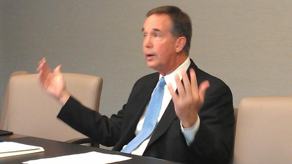 Chief Financial Officer Jeff Atwater appeared at the Sun Sentinel editorial board on Sept. 16, 2014. (Photo by Anthony Man)