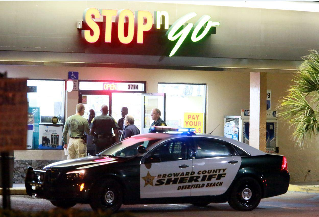 Broward Sheriff detectives were searching for three men following an armed robbery at a Stop N Go in Pompano Beach.