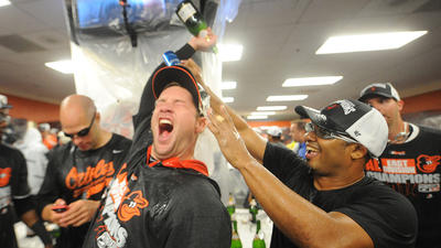Pictures from the Orioles' celebration after clinching the AL East title