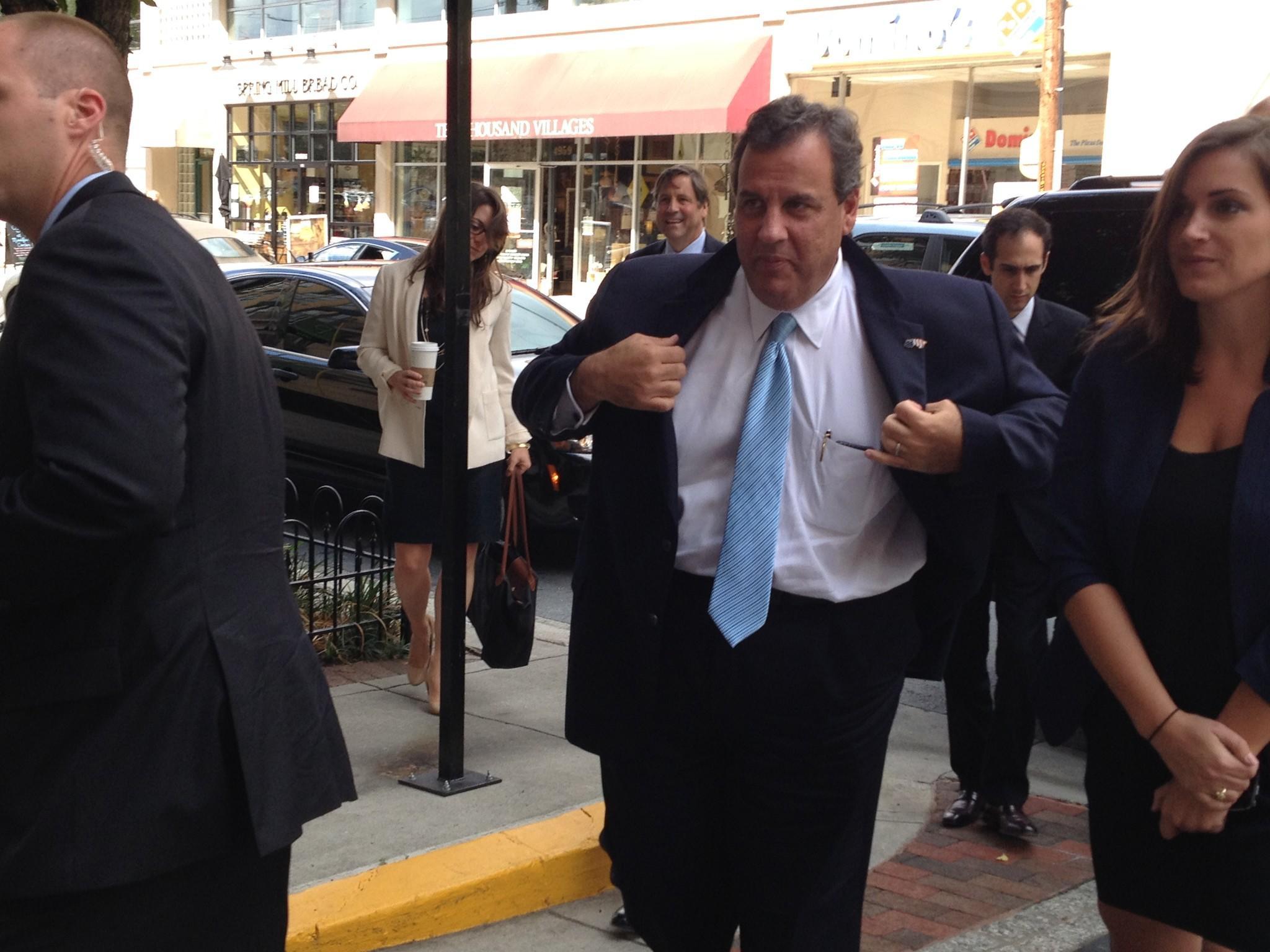 New Jersey Gov. Chris Christie arrives in Bethesda for a GOP fundraiser to benefit Republican gubernatorial candidate Larry Hogan.