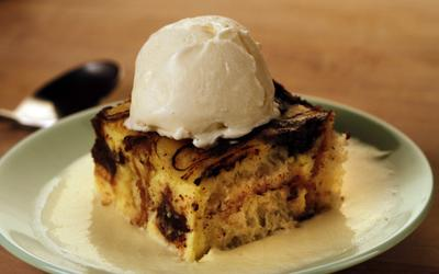 Chocolate brioche bread pudding