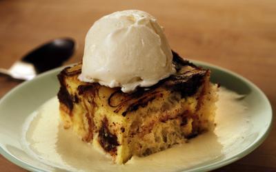 Chocolate brioche bread pudding