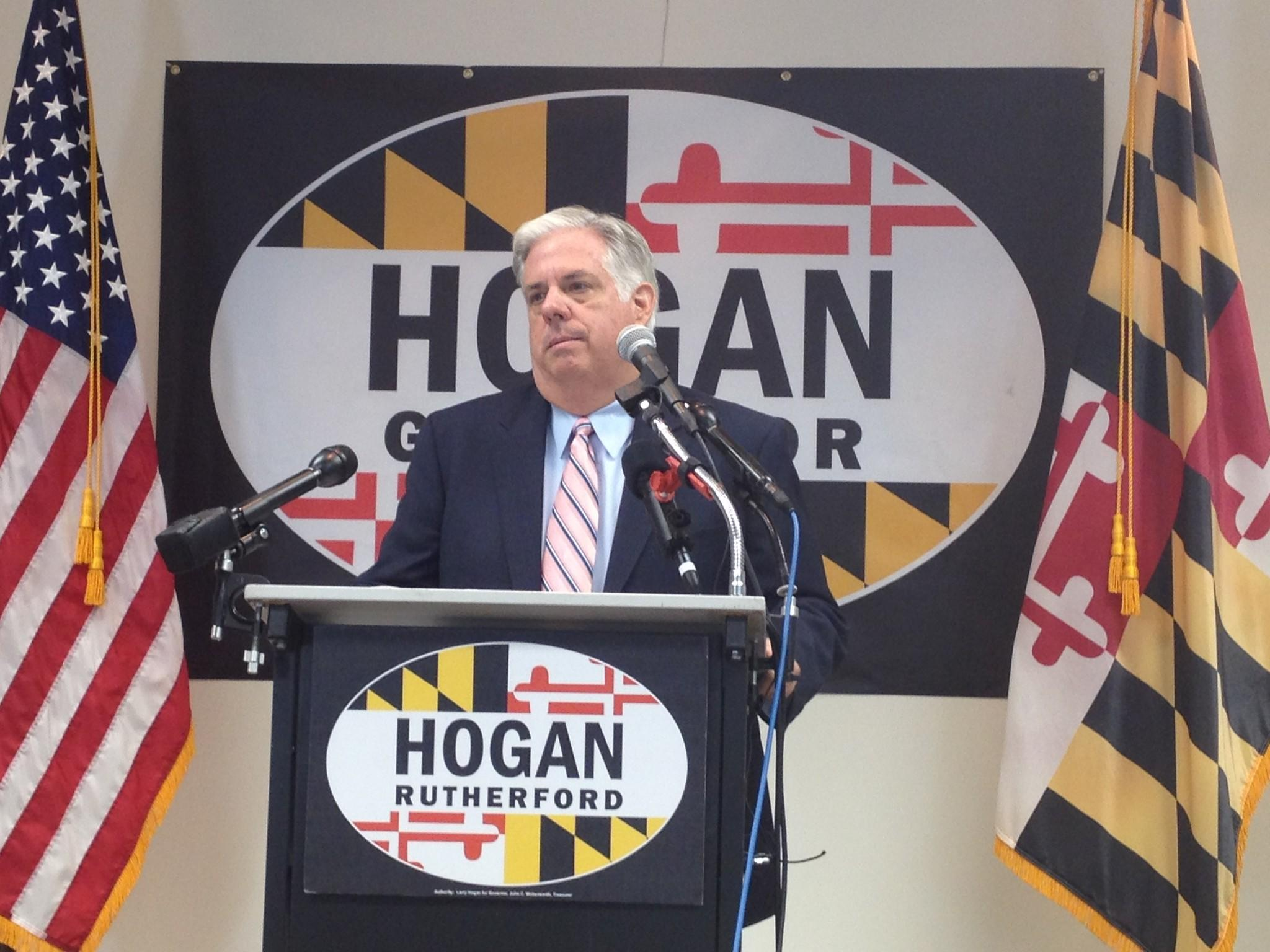 "Republican gubernatorial nominee Larry Hogan holds a press conference Thursday to call on his Democratic opponent to take down attack ads Hogan finds ""slanderous."" Democrat Lt. Gov. Anthony G. Brown's campaign said the ads are truthful and they will continue to air."