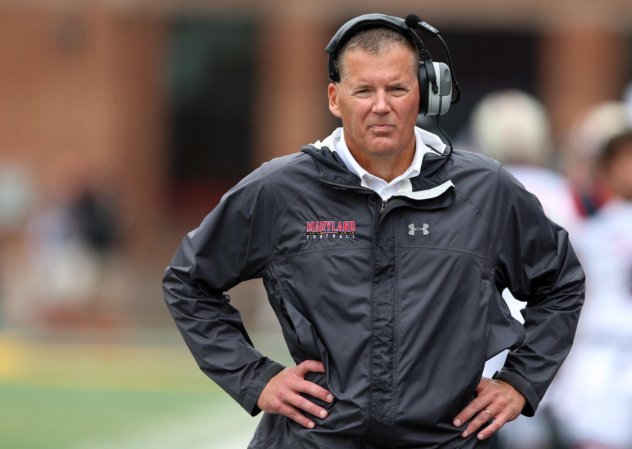 Maryland head coach Randy Edsall walks the sidelines against the the West Virginia Mountaineers at Byrd Stadium.