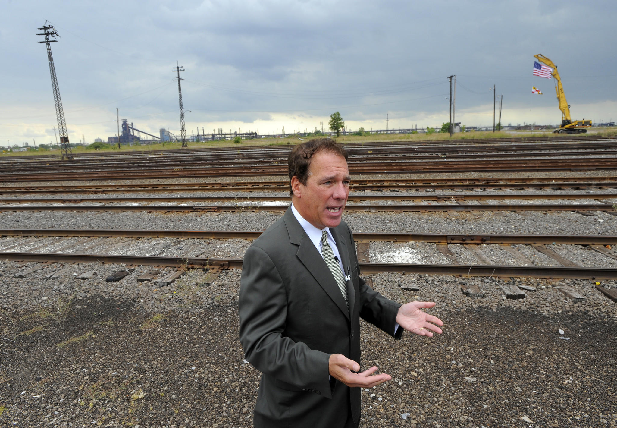 Baltimore County Executive Kevin Kamenetz speaks about the sale of Sparrows Point steel mill property.