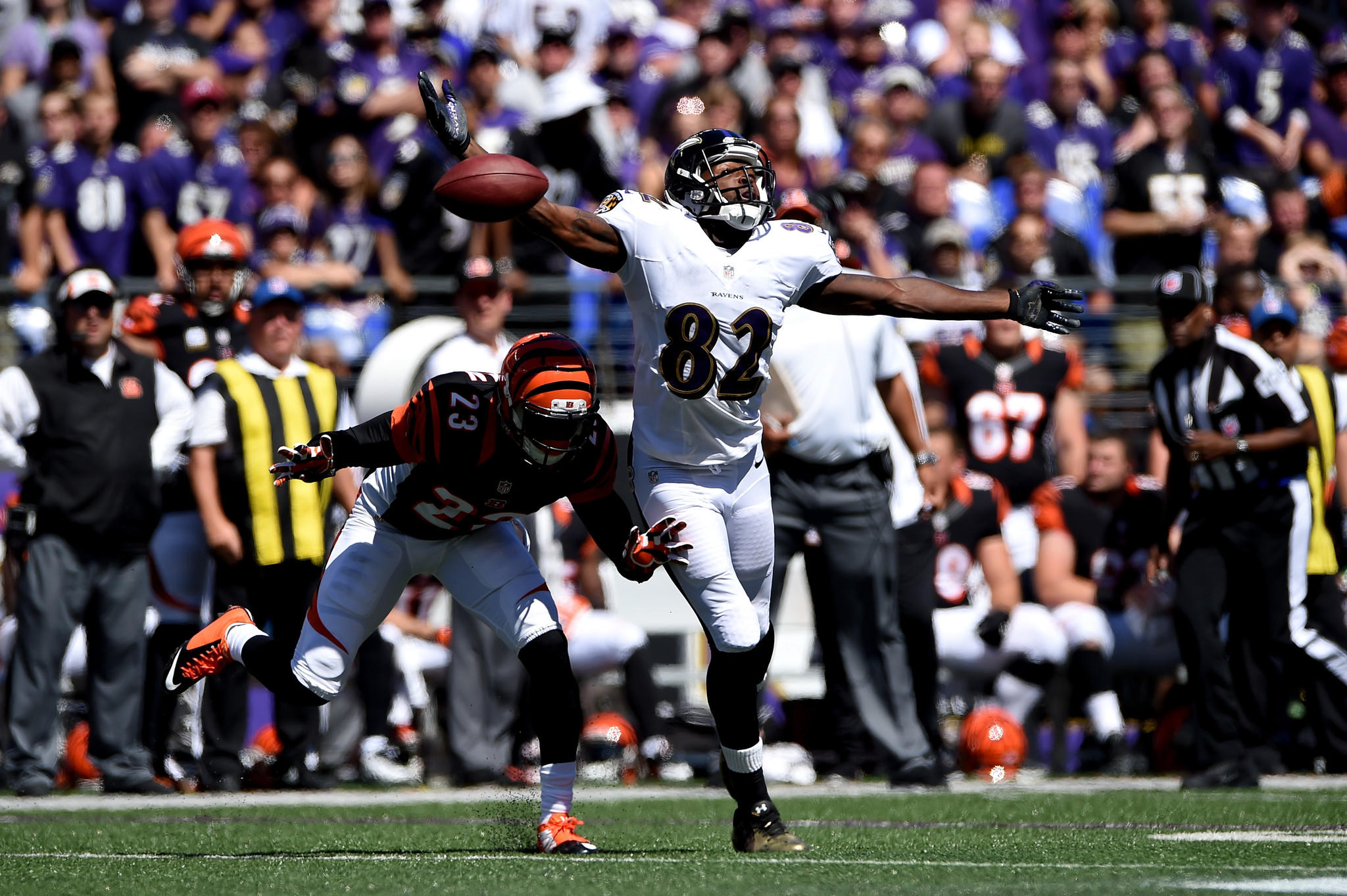 Wide receiver Torrey Smith is unable to make a catch against the Bengals in the Ravens' season-opening loss.